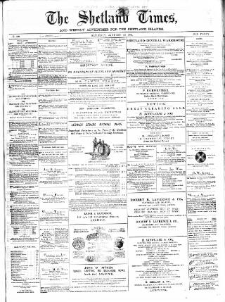 cover page of Shetland Times published on January 22, 1881