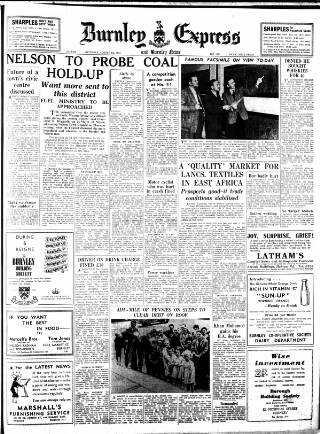 cover page of Burnley Express published on August 8, 1953