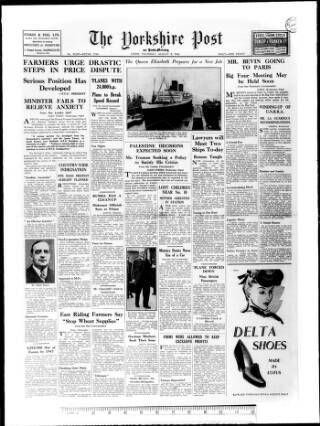 cover page of Yorkshire Post and Leeds Intelligencer published on August 8, 1946