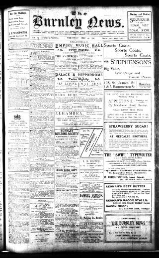cover page of Burnley News published on July 16, 1913
