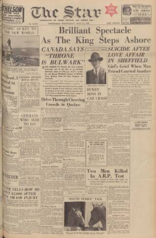 cover page of Sheffield Evening Telegraph published on May 17, 1939