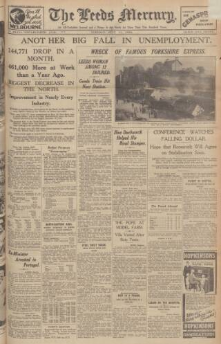 cover page of Leeds Mercury published on July 11, 1933