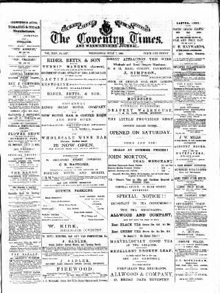 cover page of Coventry Times published on July 7, 1880