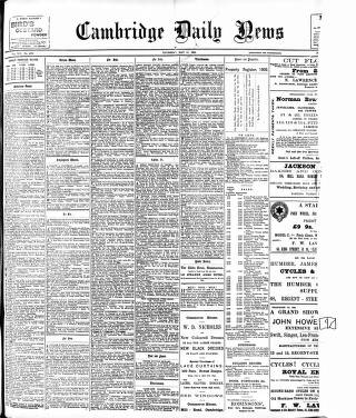 cover page of Cambridge Daily News published on May 15, 1902