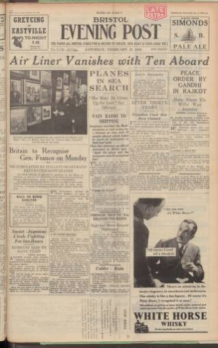 cover page of Bristol Evening Post published on February 25, 1939