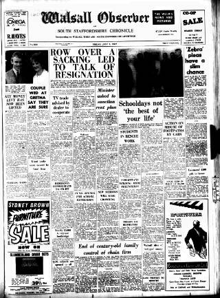 cover page of Walsall Observer, and South Staffordshire Chronicle published on July 7, 1967