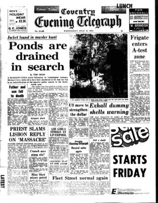 cover page of Coventry Evening Telegraph published on July 11, 1973