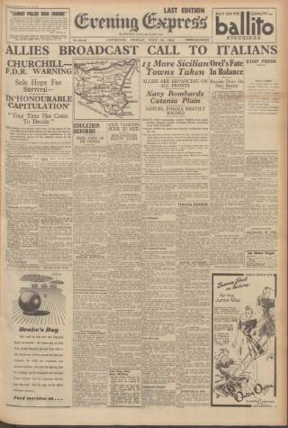 cover page of Liverpool Evening Express published on July 16, 1943