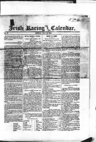 cover page of The Irish Racing Book and Sheet Calendar published on July 12, 1869
