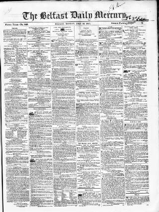 cover page of Belfast Mercury published on July 16, 1855