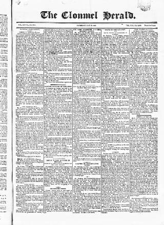 cover page of Clonmel Herald published on May 9, 1840