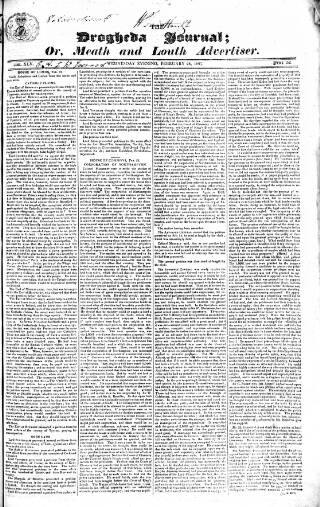 cover page of Drogheda Journal, or Meath & Louth Advertiser published on February 28, 1827