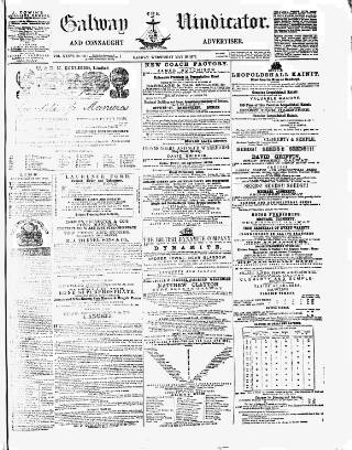 cover page of Galway Vindicator, and Connaught Advertiser published on May 16, 1877
