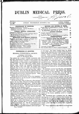 cover page of Dublin Medical Press published on August 8, 1855