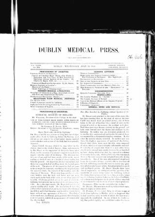 cover page of Dublin Medical Press published on July 16, 1856