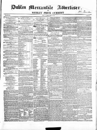 cover page of Dublin Mercantile Advertiser, and Weekly Price Current published on February 25, 1859