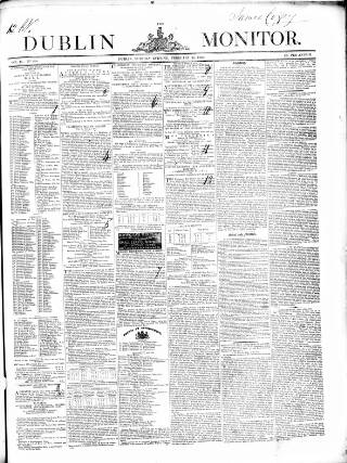 cover page of Dublin Monitor published on February 25, 1840