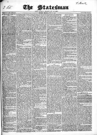 cover page of Statesman and Dublin Christian Record published on July 11, 1845