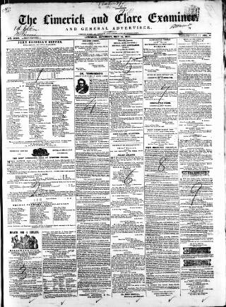cover page of Limerick and Clare Examiner published on May 14, 1853