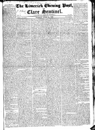 cover page of Limerick Evening Post published on July 11, 1828