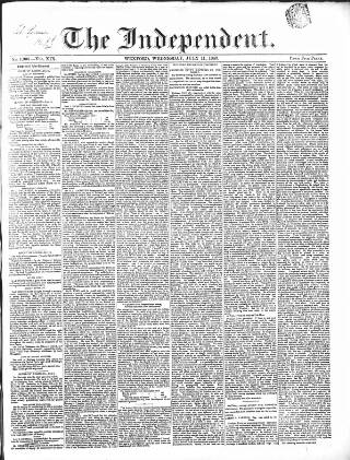 cover page of Wexford Independent published on July 11, 1849