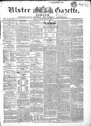 cover page of Ulster Gazette published on July 16, 1853