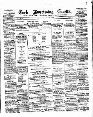 cover page of Cork Advertising Gazette published on February 25, 1857