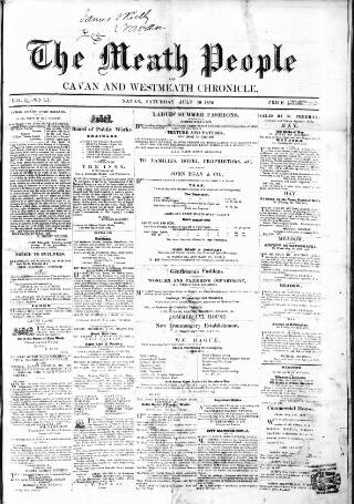 cover page of Meath People, and Cavan and Westmeath Chronicle published on July 16, 1859