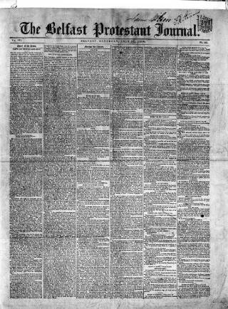 cover page of Belfast Protestant Journal published on July 27, 1850