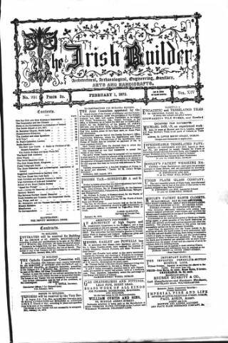 cover page of The Dublin Builder published on February 1, 1872