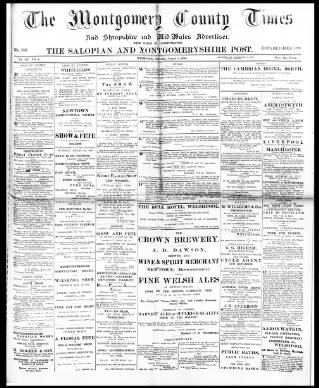 cover page of Montgomery County Times and Shropshire and Mid-Wales Advertiser published on August 8, 1896