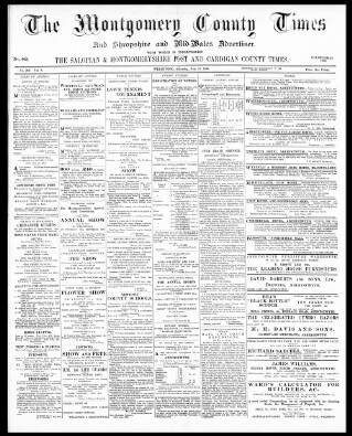 cover page of Montgomery County Times and Shropshire and Mid-Wales Advertiser published on July 21, 1900
