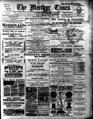 cover page of Merthyr Times, and Dowlais Times, and Aberdare Echo published on February 25, 1898