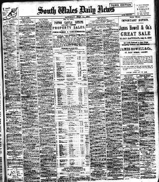 cover page of South Wales Daily News published on July 11, 1908