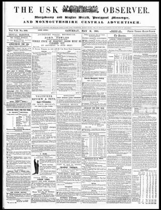 cover page of Usk Observer published on May 11, 1861