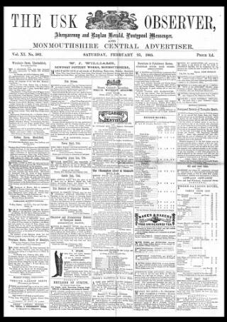 cover page of Usk Observer published on February 25, 1865