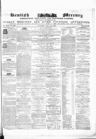 cover page of Kentish Mercury published on May 16, 1863