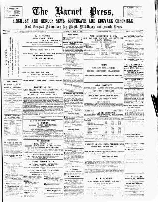 cover page of Barnet Press published on May 5, 1894
