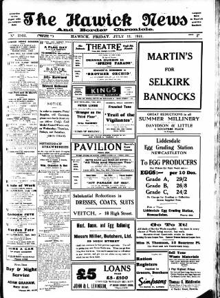 cover page of Hawick News and Border Chronicle published on July 11, 1941