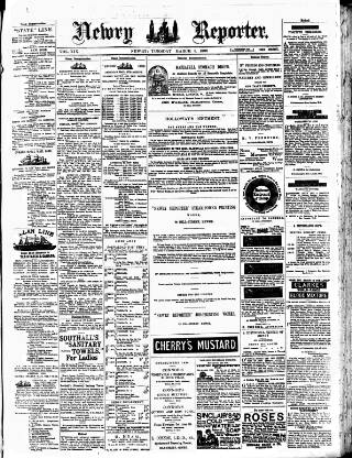cover page of Newry Reporter published on March 9, 1886