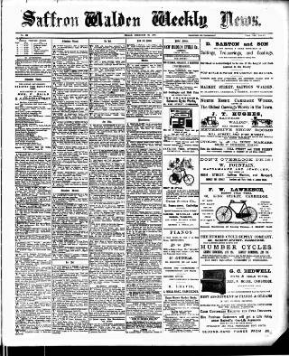 cover page of Saffron Walden Weekly News published on February 26, 1897