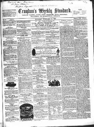 cover page of Croydon's Weekly Standard published on February 26, 1859