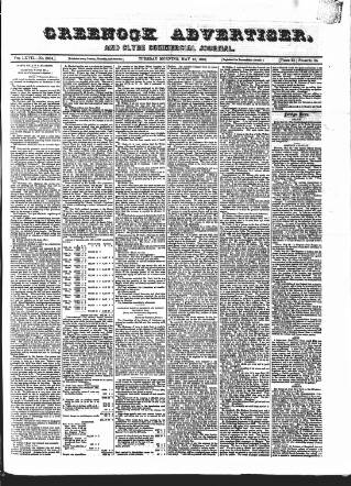 cover page of Greenock Advertiser published on May 15, 1866