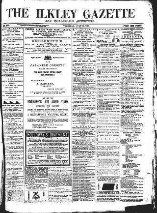 cover page of Ilkley Gazette and Wharfedale Advertiser published on July 16, 1868