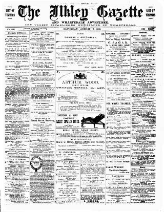 cover page of Ilkley Gazette and Wharfedale Advertiser published on August 8, 1891