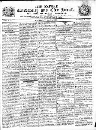 cover page of Oxford University and City Herald published on May 9, 1818