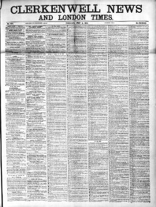 cover page of Clerkenwell News published on July 8, 1869