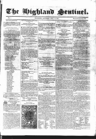 cover page of Highland Sentinel published on July 13, 1861