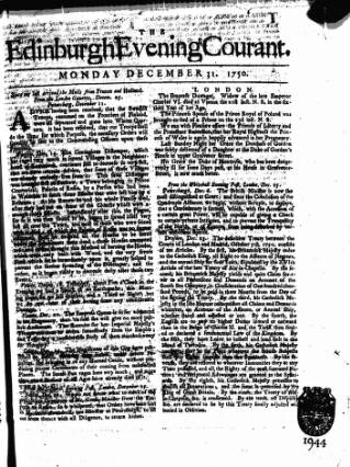cover page of Edinburgh Courant published on December 31, 1750