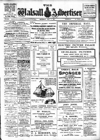 cover page of Walsall Advertiser published on July 8, 1911